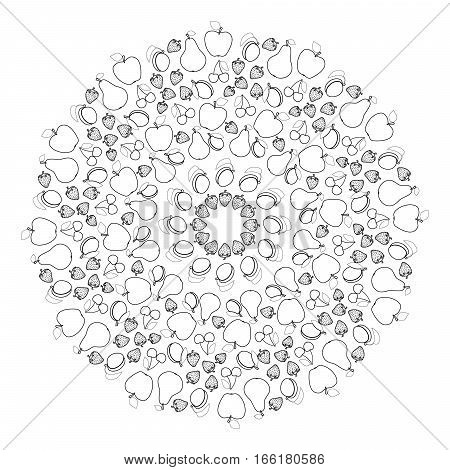 vector black and white round summer fruity mandala - adult coloring book page