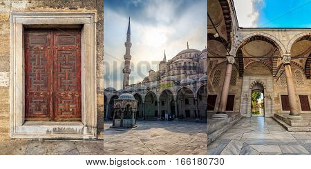ISTANBUL, TURKEY - August 18, 2015: Inside the Blue Mosque in Istanbul. Sultan Ahmed Mosque and its court yard is a popular historic area among tourists