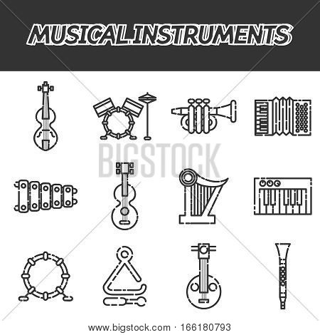 Musical instruments icon set. Vector illustration, EPS 10