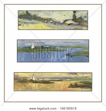 Set of three panoramic landscapes. Oil painting. Hand painted. Square frame. Can be used for greeting cards as a nature background.