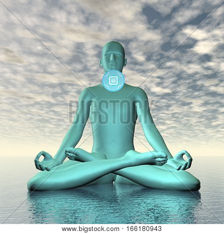 Silhouette of a man meditating with blue vishuddhi, vishuddha or throat chakra symbol upon ocean in cloudy background - 3D render