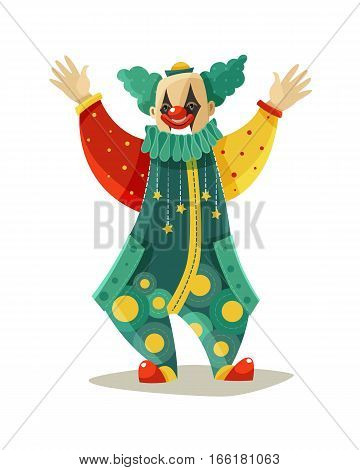 Traveling circus traditional clown figure in funny costume and makeup greeting public colorful icon vector illustration