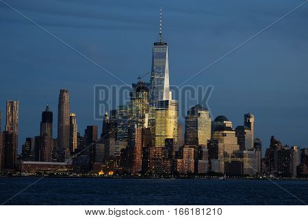 View on One World Trade Center on sunset.