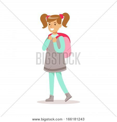 Happy Girl With Ponytails In Classic Girly Color Clothes Smiling Cartoon Character Going To School. Traditional Female Kid Look And Behavior Vector Illustration.