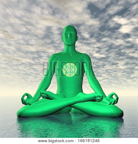 Silhouette of a man meditating with Green anahata or heart chakra symbol upon ocean in cloudy background - 3D render