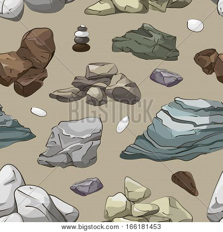 Rocks and stones elements pattern, rock elements different shapes and shades of gray, boulders set, flat design on light background.