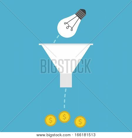 Lightbulb, Funnel And Money
