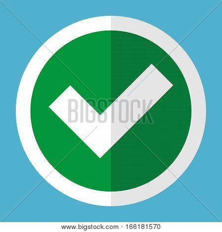 White check mark in green circle with frame on blue background. Right approve and poll concept. Flat design. Vector illustration. EPS 8 no transparency