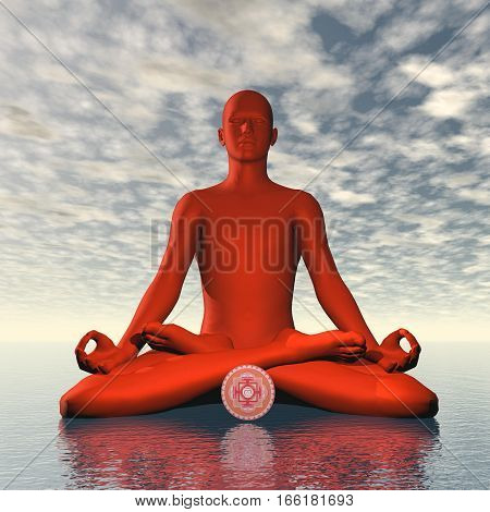 Silhouette of a man meditating with red muladhara or root chakra symbol upon ocean in cloudy background - 3D render