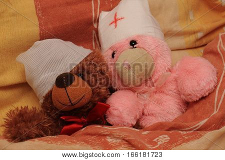 Two sick bear with bandages on their heads lying in bed