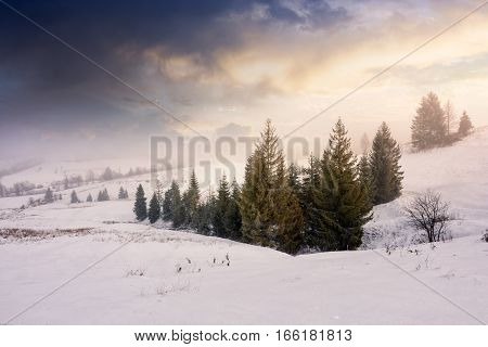 Stormy Weather Over Rural Area In Mountains