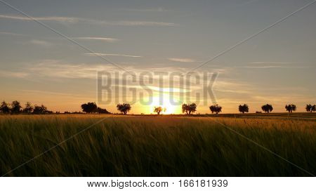 The countryside of Spain in the sundown