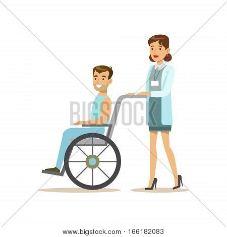 Nurse Rolling A Patient In Wheelchair, Hospital And Healthcare Illustration. Scene In Public Medical Institution Flat Vector Illustration With Cartoon Characters.