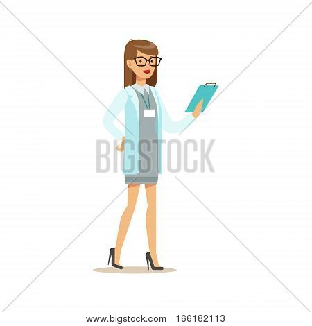 Doctor Studying Patients Medical History File, Hospital And Healthcare Illustration. Scene In Public Medical Institution Flat Vector Illustration With Cartoon Characters.