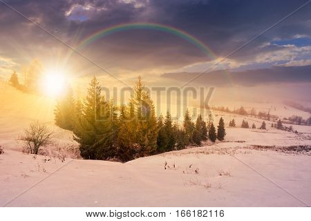 Stormy Weather Over Rural Area In Mountains At Sunset