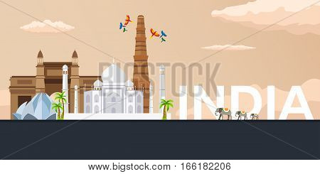 Travel Banner To India. Vector Flat Illustration.