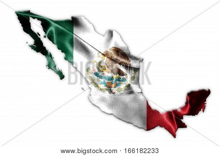 Mexican National Flag With Eagle Coat Of Arms And Mexican Map 3D Rendering