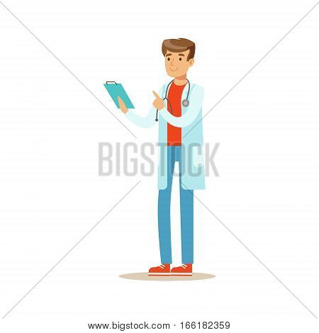 Doctor Reading Patients Medical Hictory On Clipboard, Hospital And Healthcare Illustration. Scene In Public Medical Institution Flat Vector Illustration With Cartoon Characters.