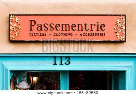 Santa Fe, USA - July 29, 2015: Passementrie textile and clothing shop in downtown city in New Mexico