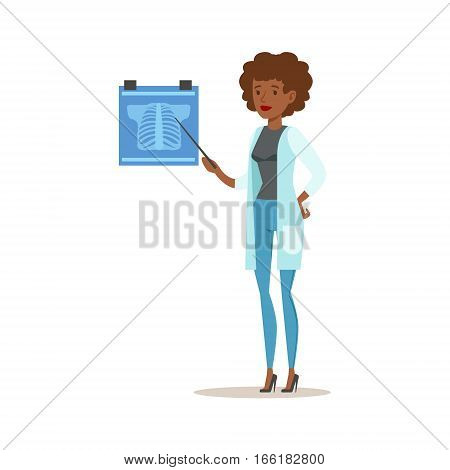 Doctor Demonstrating And Explaining Chest X-Ray, Hospital And Healthcare Illustration. Scene In Public Medical Institution Flat Vector Illustration With Cartoon Characters.