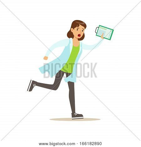 Doctor With Clipboard Running Shouting, Emergency Situation, Hospital And Healthcare Illustration. Scene In Public Medical Institution Flat Vector Illustration With Cartoon Characters.