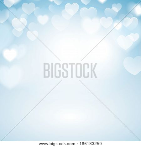 Romantic Bokeh background with heart lights. Blurred blue background.