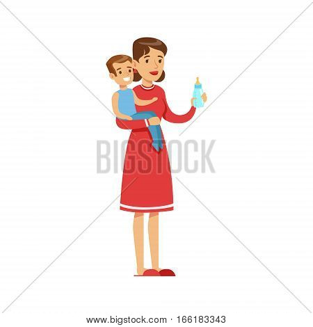 Woman Housewife Holding A Young Kid In Arms Preparing Him A Bottle, Classic Household Duty Of Staying-at-home Wife Illustration. Smiling Female Character And Her Domestic Affairs Vector Drawing.