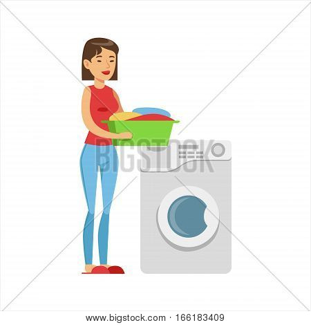 Woman Housewife Loading Dirty Laundry Into Washing Machine, Classic Household Duty Of Staying-at-home Wife Illustration. Smiling Female Character And Her Domestic Affairs Vector Drawing.