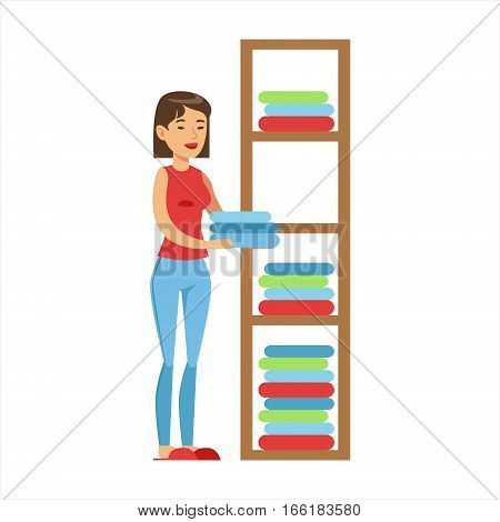 Woman Housewife Ranging Clean Clothes On Shelves, Classic Household Duty Of Staying-at-home Wife Illustration. Smiling Female Character And Her Domestic Affairs Vector Drawing.