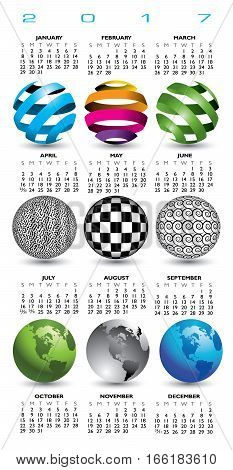 A 2017 calendar with nine abstract globes for print or web use