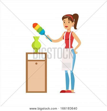 Woman Housewife Wiping The Dust Of Vase WIth Brush, Classic Household Duty Of Staying-at-home Wife Illustration. Smiling Female Character And Her Domestic Affairs Vector Drawing.