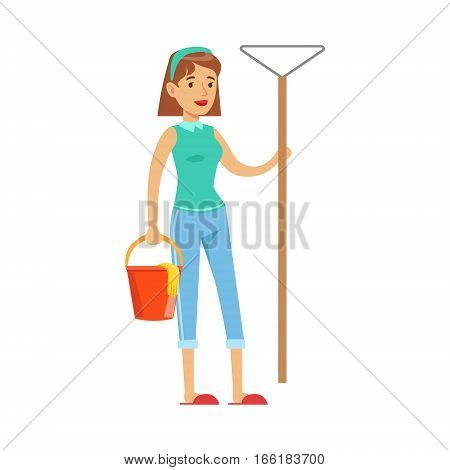 Woman Housewife With Bucket OF Water And Broom Ready To Clean, Classic Household Duty Of Staying-at-home Wife Illustration. Smiling Female Character And Her Domestic Affairs Vector Drawing.