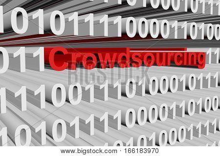 Crowdsourcing in the form of binary code, 3D illustration