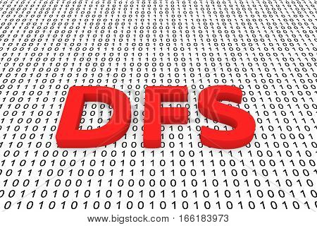 dfs as a binary code 3D illustration