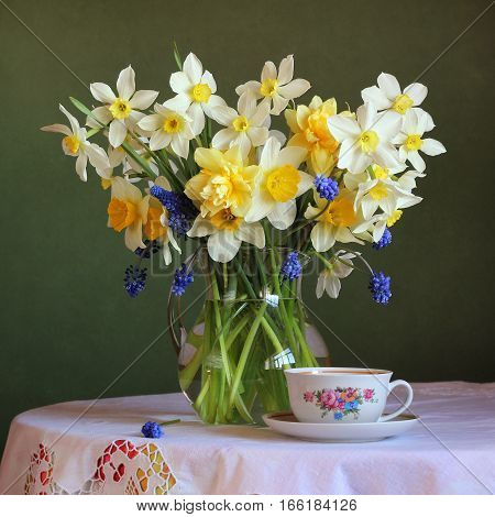 spring still life with a bouquet of daffodils.