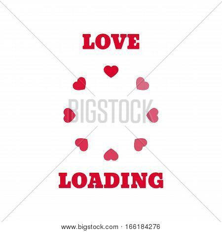 Loading bar. The circular progress bar. Red hearts on a white background.