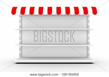 market shelves business white background 3d illustration