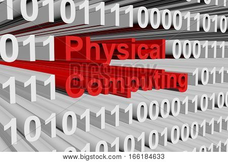 Physical computing in binary code, 3D illustration