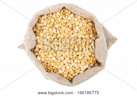Dried Yellow Peas In Sackcloth Bag On White