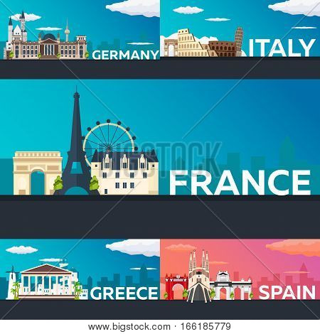 Big Collection Of Travel Banners To The Europe. Schengen. Vecor Flat Illustration.