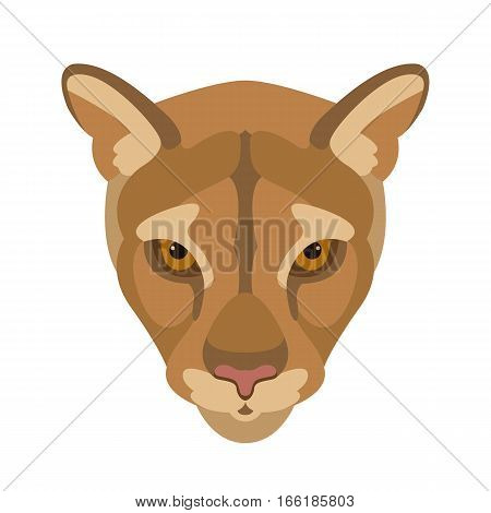 cougar face  vector illustration style Flat front