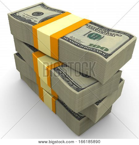 Stack of packs of 100 dollar American bills tied with a ribbon. Isolated. 3D Illustration