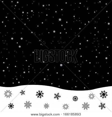Falling snow. Black and white winter snowdrift. Christmas decoration snowflake