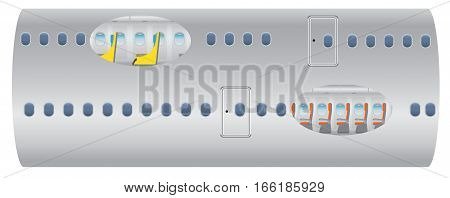 Double Deck White Airplane Vector Illustration