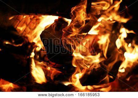 Burning log fire. Night fireplace. Closeup flame. Barbecue coal blazing