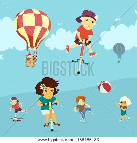 Children playing in the outdoors vector illustration