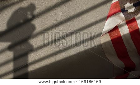 Usa Flag Thinker and Gate Shadow on Concrete