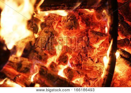 Closeup fire. Burning log flame heat fireplace. Barbecue coal blazing