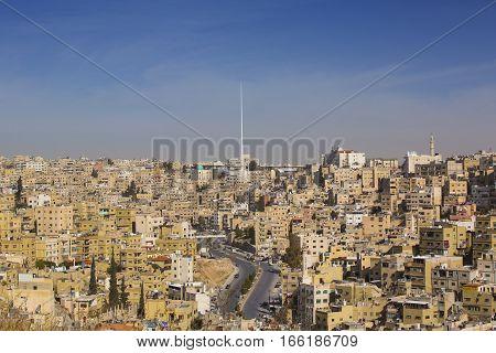 JORDAN, AMMAN - 12 JANUARY 2017: Panorama of Amman, Jordan's capital: JANUARY 12, 2017 in Jordan. Amman