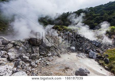 Unzen Hot Spring & Unzen Hell Landscape In Nagasaki, Kyushu.